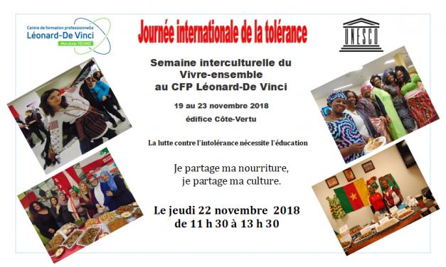 Semaine interculturelle du Vivre-ensemble au CFP Léonard-De Vinci édifice Côte-Vertu