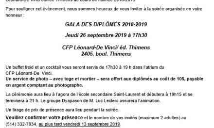 Gala des diplomés 2018-2019